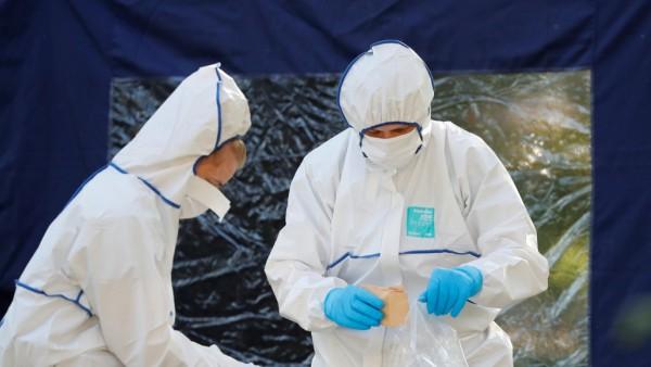Police officers investigate a crime scene in Berlin