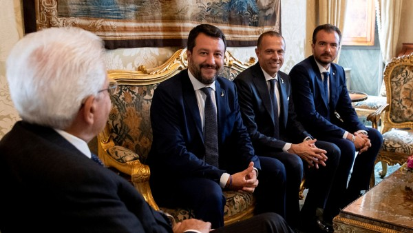 Italy's President Sergio Mattarella with League leader Matteo Salvini, Massimiliano Romeo and Riccardo Molinari are seen in Rome