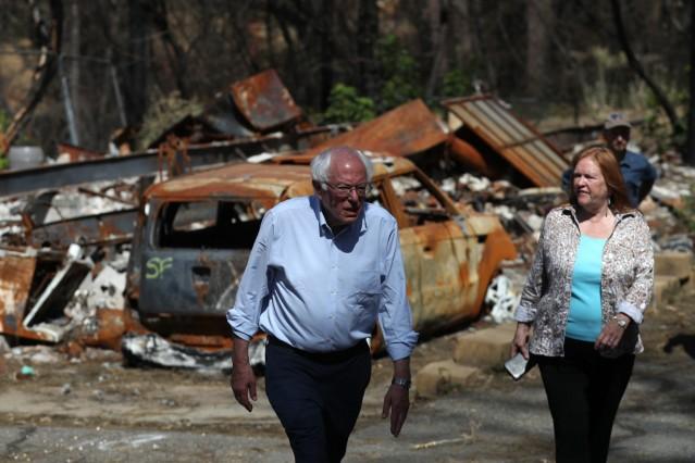 Bernie Sanders Tours Site Of Paradise, CA Wildfire, Discusses Climate Crisis