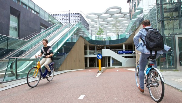 190820 THE HAGUE Aug 20 2019 People ride at a new bicycle parking facility in Utrecht t