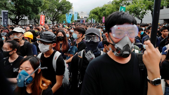 Students boycott their classes as they take part in a protest against the extradition bill at the Chinese University of Hong Kong