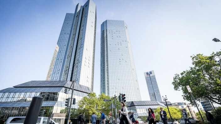Morning Rush Hour Workers in Germany's Financial Center