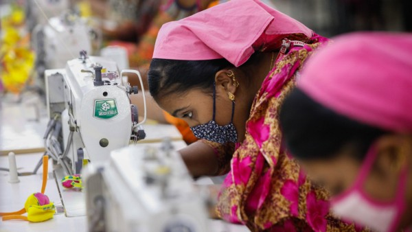 January 7 2018 Dhaka Bangladesh Bangladeshi female workers work at a garments factory in Gazip