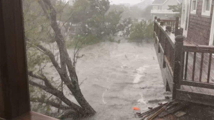 Severe flooding conditions can been seen in Ocracoke Island, North Carolina