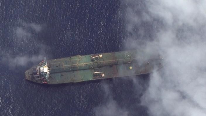 Satellite photo of Iranian oil tanker Adrian Darya 1 off the coast of Tartus, Syria