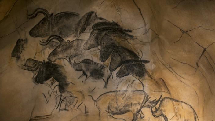 Replica of prehistoric rock paintings of the Chauvet Cave Chauvet Pont d Arc Cave Ardèche France