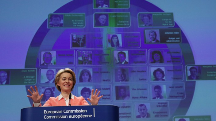 European Commission's president-designate Ursula von der Leyen speaks during a news conference at the EU Commission headquarters in Brussels