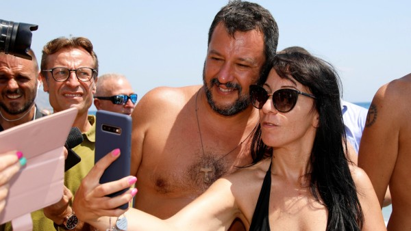 FILE PHOTO: Italian Interior Minister Salvini meets supporters at the beach in Taormina