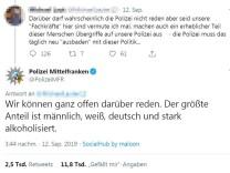 Tweet des Polizeipräsidiums Mittelfranken zu Gewalt gegen Polizisten