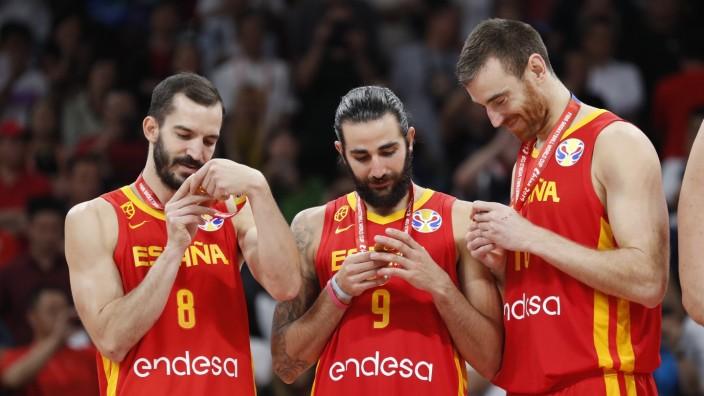 Final del Mundial de Baloncesto de China entre Argentina y Espana En la imagen Ribas Ricky Rubio