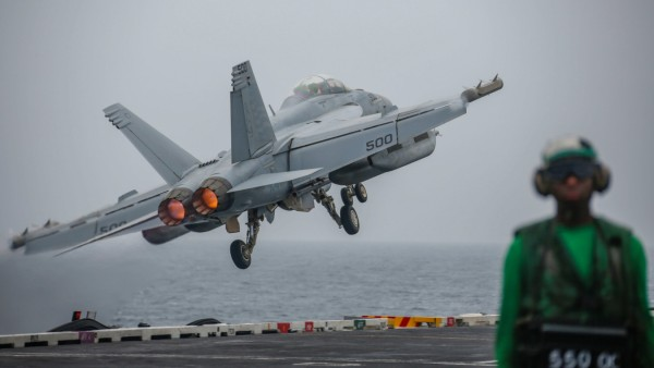 EA-18G Growler launches off the flight deck of USS Abraham Lincoln in the Gulf