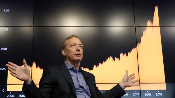 Microsoft President Brad Smith speaks during a Reuters Newsmaker event in New York