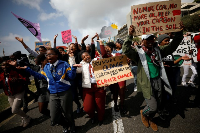 Young activists march as part of the Global Climate Strike of the movement Fridays for Future, in Cape Town