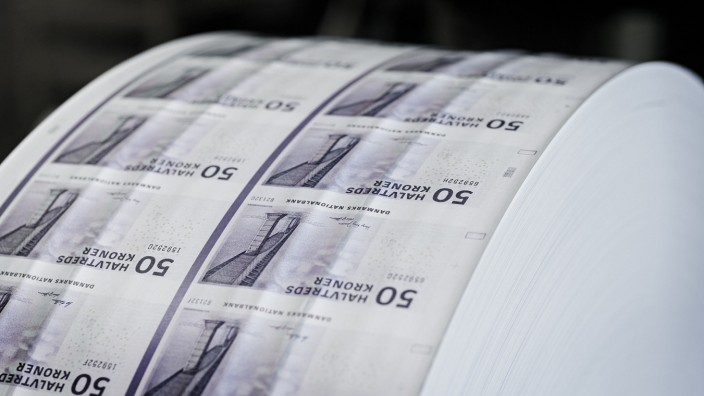 General view of Danish crown banknotes being printed at printing operation facility in Copenhagen