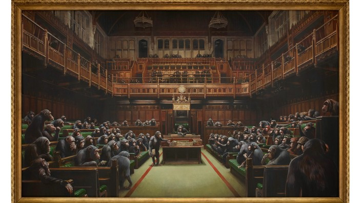 Banksy chimp parliament set for smahs auction record for his work