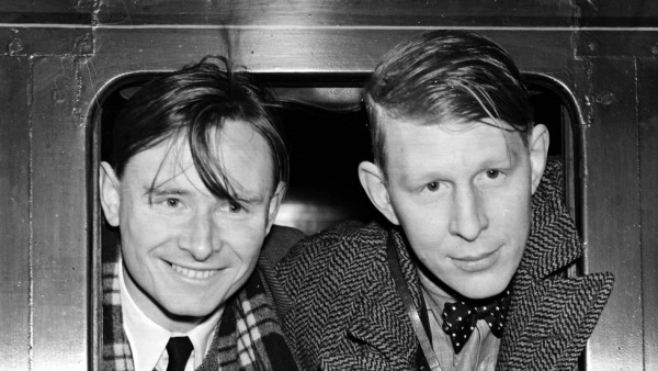 Two foremost Poets, writers and playwrights Christopher Isherwood (left) and W H Auden departing from London Victoria Station, on the first leg of their journey to China 19th January 1938
