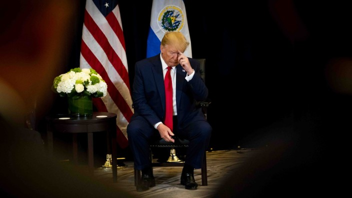 President Donald Trump pauses during a meeting with the President of El Salvador, at the InterContinental New York Barclay, Wednesday, Sept. 25, 2019, in New York. (Doug Mills/The New York Times)