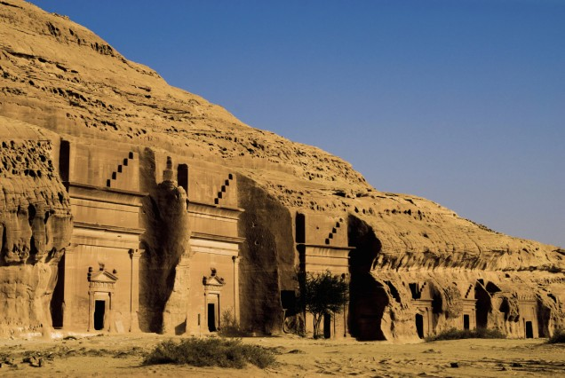 Saudi Arabia site of Madain Saleh ancient Hegra tombs of Nabatean town PUBLICATIONxINxGERxSUIxAUT