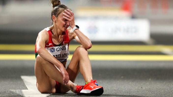 Leichtathletik-WM 2019: Sviatlana Kudzelich aus Weißrussland nach dem Marathon