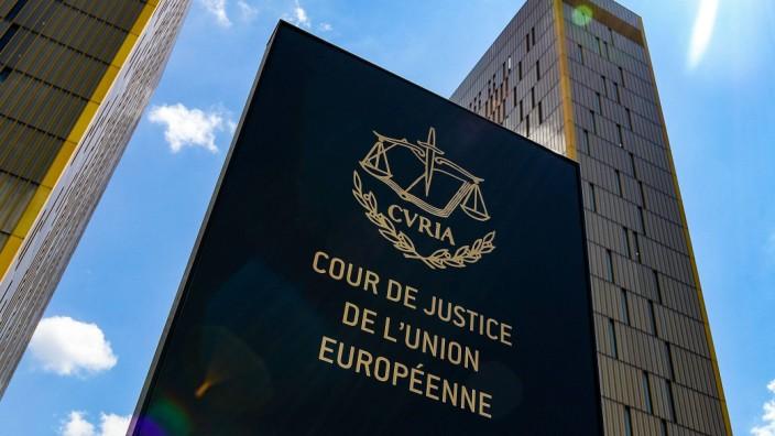 20 06 2019 xmkx Politik Europaeischer Gerichtshof EuGH v l Eingangsschild Symbolbild Luxembu