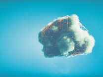 Humorous mobile cloud computing conceptual image; Cloud computing conceptual image