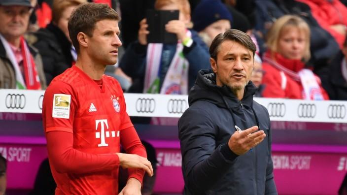 FC Bayern München: Thomas Müller und Niko Kovac beim Spiel gegen 1899 Hoffenheim