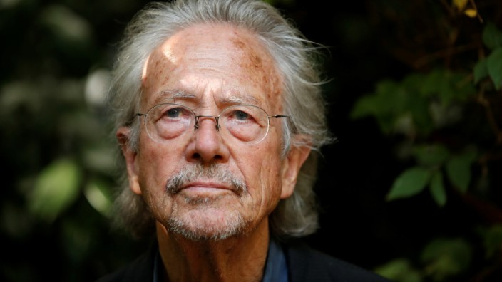Austrian author Peter Handke, winner of the 2019 Nobel Prize in Literature, poses in his house in Chaville