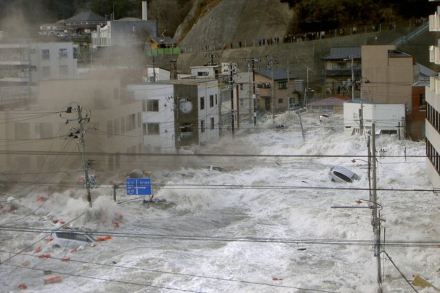 TOKYO Japan Supplied photo shows an urban area in Kamaishi Iwate Prefecture being hit by a mas; Kamaishi