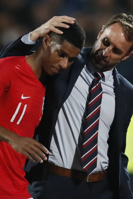 Respect from Gareth Southgate manager of England for Marcus Rashford of England as he is substituted during the UEFA EUR