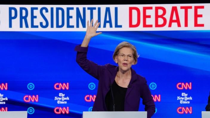 Democratic presidential candidate Senator Elizabeth Warren speaks during the fourth U.S. Democratic presidential candidates 2020 election debate at Otterbein University in Westerville, Ohio U.S.