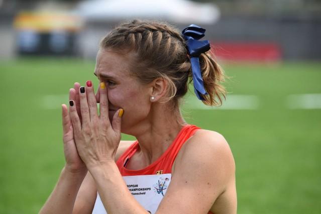 Georgina Schneid Zorneding bei der Leichtathletik Europameisterschaft der Gehörlosen in Bochum Wattenscheid im Sommer 2019 Silbermedaille