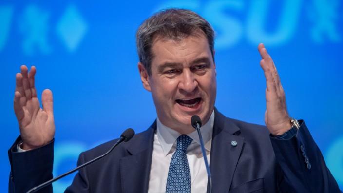 Markus Söder auf dem CSU-Parteitag 2019 in München wiedergewählt