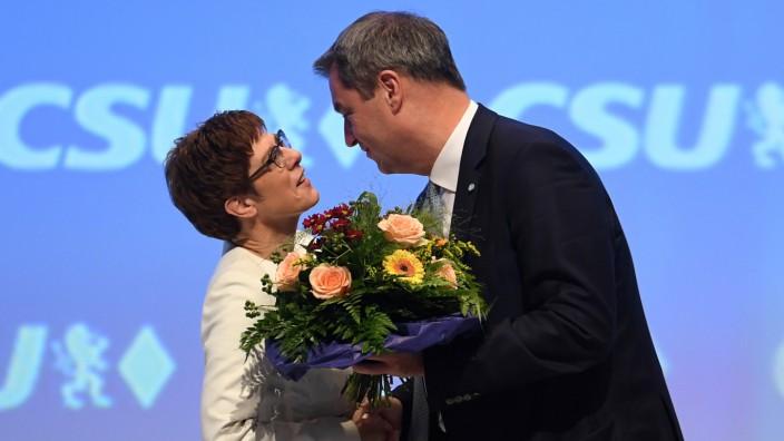 CDU leader Annegret Kramp-Karrenbauer attends the CSU meeting in Munich
