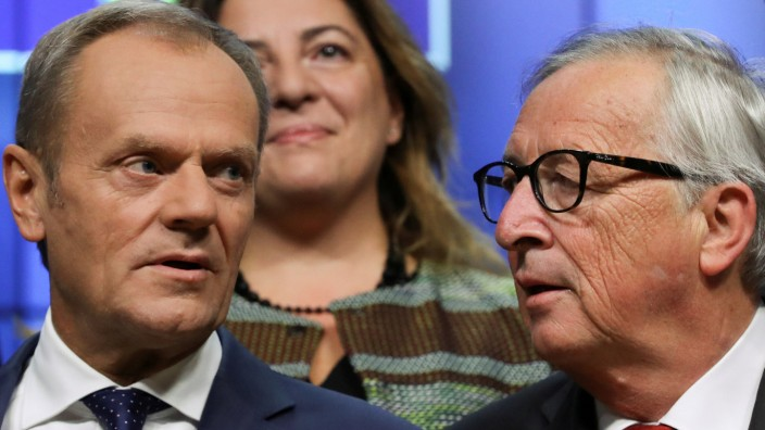 FILE PHOTO: EU Commission President Juncker and President of the EU Council Tusk attend EU Tripartite Social Summit in Brussels