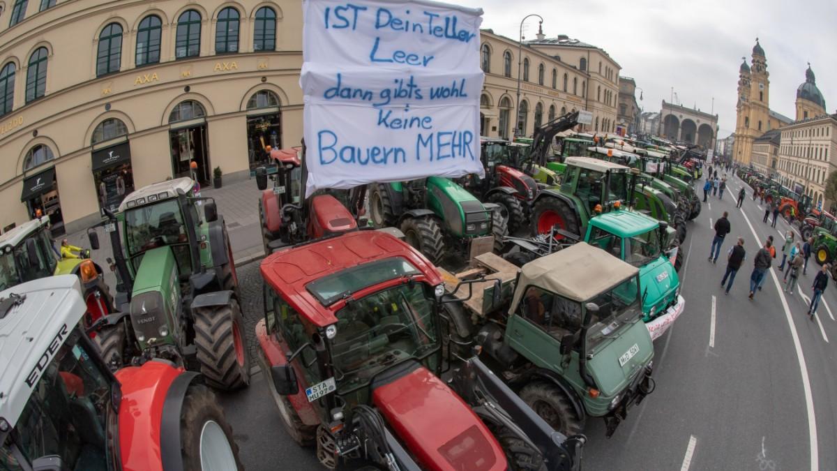 München: Bauerndemo rund um den Odeonsplatz