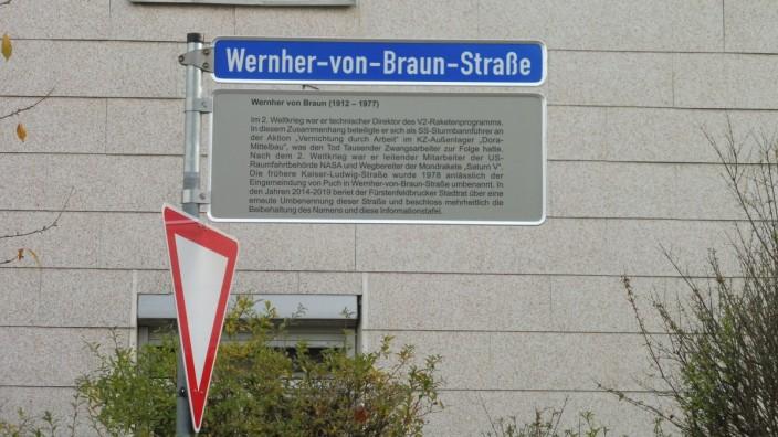 Zusatztafel Wernher-von-Braun-Straße
