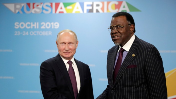 Russia's President Vladimir Putin attends a meeting with Namibia's President Hage Geingob in Sochi