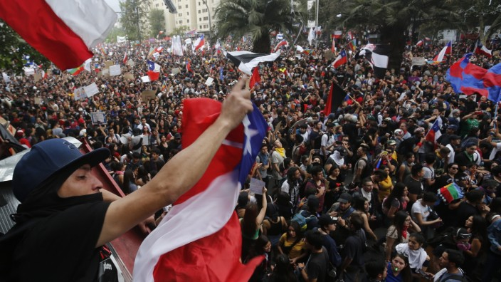 National Strike And Protests Against President Piñera