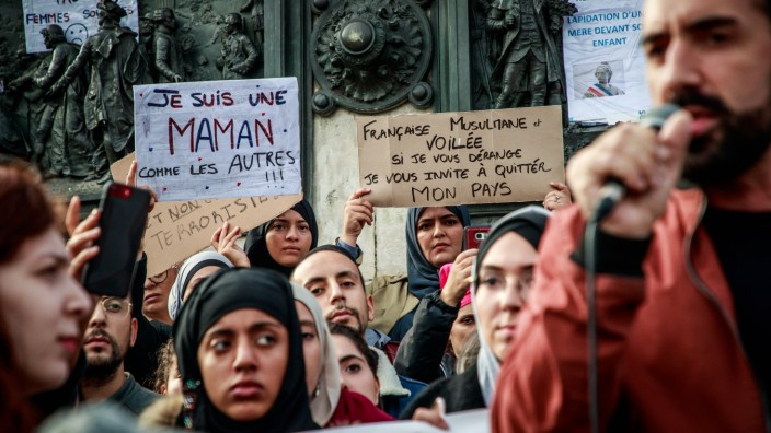 Protest against Islamophobia in Paris, France - 19 Oct 2019