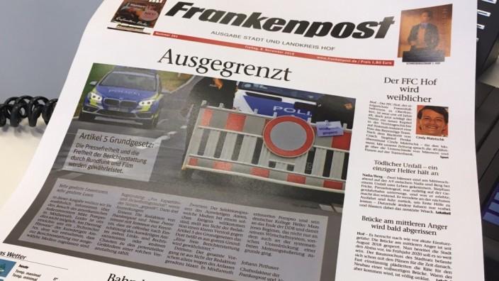 Titelseite der Frankenpost nach dem Besuch von Mike Pompeo in Mödlareuth / Oberfranken