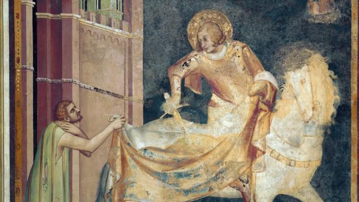 Saint Martin partage son manteau avec un mendiant Fresque de Simone Martini 1282 1344 1315 Ba