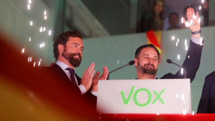 Spain's far-right party VOX candidate Santiago Abascal reacts during Spain's general election at the party headquarters in Madrid