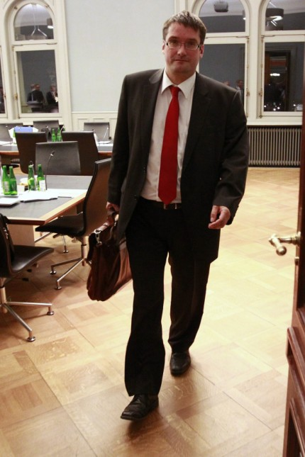 Swiss Councillor of State Levrat leaves a session of the Committee for Economic Affairs and Taxation on the Swiss-U.S. tax agreement in Bern