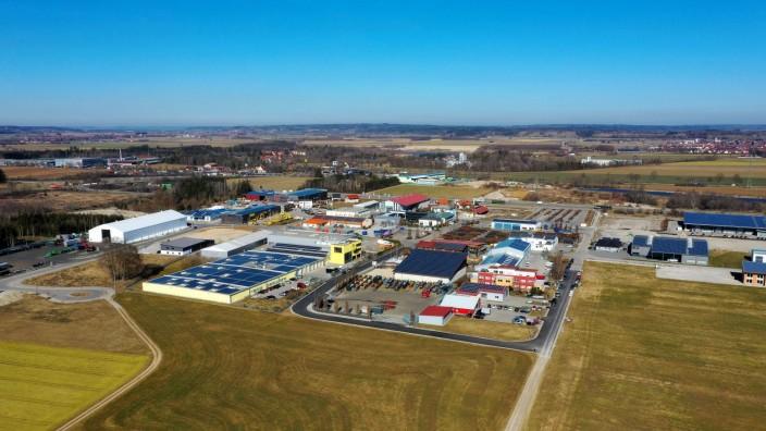 27 02 2019 Gewerbegebiet Unterfeld nahe Irsingen bei Türkheim im Allgäu Luftbild 27 02 2019 Gewe