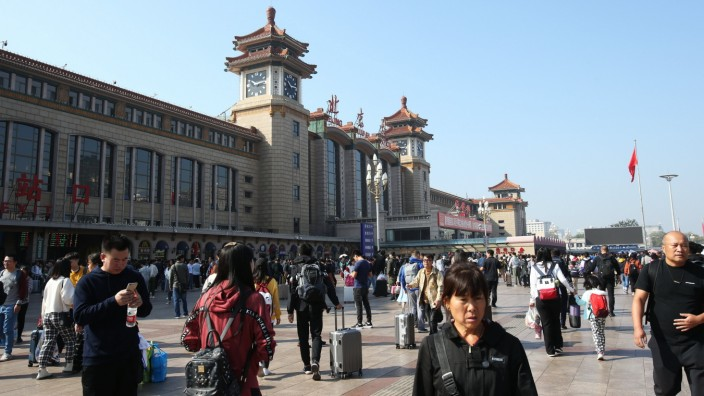 October 7, 2019, Beijing, China: Beijing Railway Station is crowded with travelers who finishes their journey in the Nat
