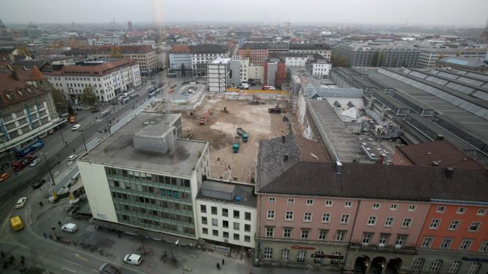 Baugrube am Hauptbahnhof in München, 2019