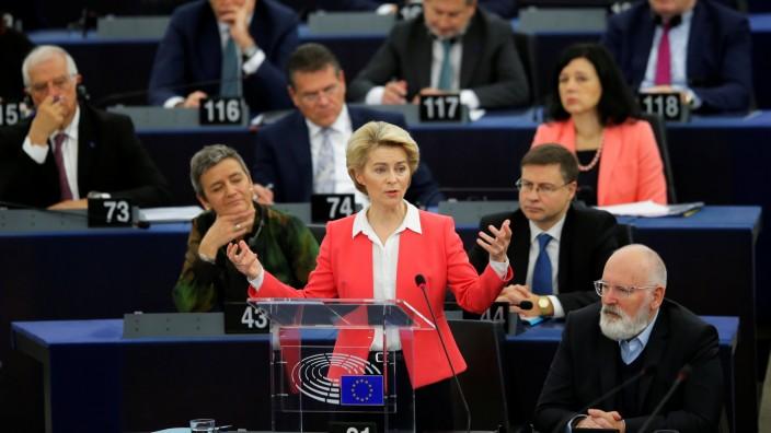European Commission President-elect von der Leyen addresses the European Parliament in Strasbourg
