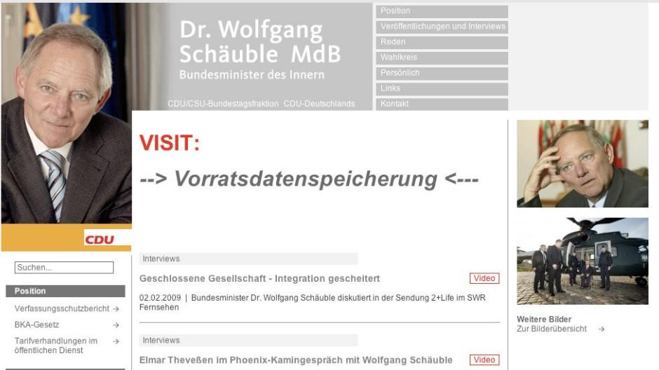 Website von Schäuble gehackt