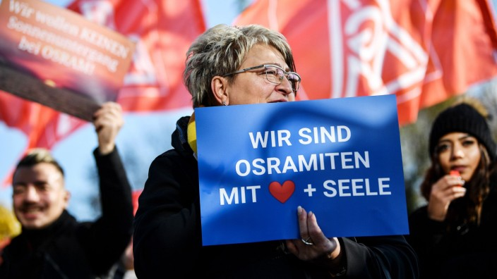 Osram employees protest against takeover, Munich, Germany - 18 Nov 2019