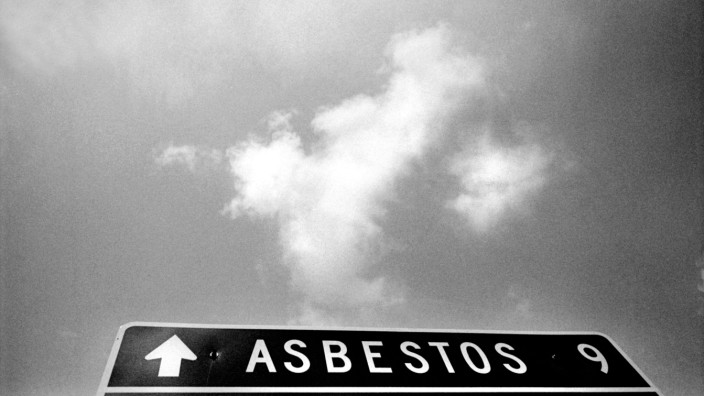 Sep 20 2005 Asbestos Quebec Canada A road sign seen 9 km from the town of Asbestos which wa